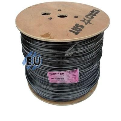 Коаксиальный кабель RG-59+2*0.5 EUROSAT наружный, черный 305м