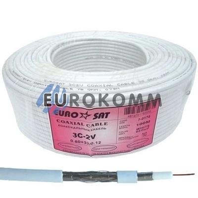 Коаксиальный кабель RG-59 EUROSAT 3C2V-/32AL белый 100м