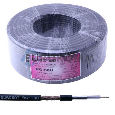 Коаксиальный кабель RG-58U EUROSAT черный 100м