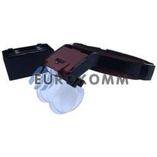 Лупа бинокулярная налобная с подсветкой 1.7X – 7X кр. увеличение
