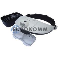 Лупа бинокулярная налобная с LED подсветкой 1X – 6X кр. увеличение