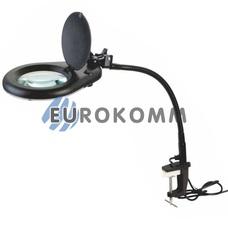 Лупа-лампа на струбцине гибкая ножка с LED подсветкой, 5X кр. увеличение