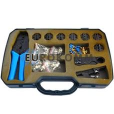 Набор обжимного инструмента со сменными насадками + съемники в пластиковой коробке