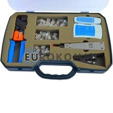 Набор тлф.инстр.обжим.(RJ45,12,11)+тестер+съемн. в пласт.коробке