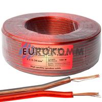 Акустический кабель 2x0.34мм² CCA Sound Star прозрачный красно-черный 100м