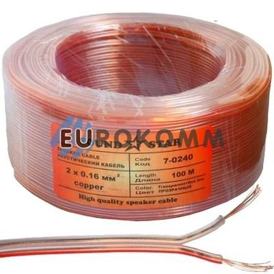 Акустический кабель 2x0.16мм² CU Sound Star прозрачный 100м