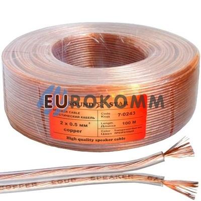 Акустический кабель 2x0.5мм² CU Sound Star прозрачный 100м