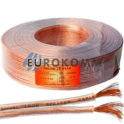 Акустический кабель 2x1.5мм² CCA Sound Star прозрачный 100м