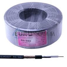 Коаксиальный кабель RG-58U EUROSAT CU черный 100м