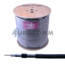 Коаксиальный кабель RG-6 EUROSAT F690BVF-Cu наружный с гелем, черный 305м