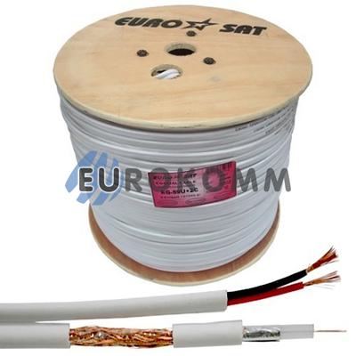 Коаксиальный кабель RG-59+2*0.5 EUROSAT белый 305м