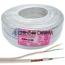 Коаксиальный кабель 3C2V+2х0.51 EUROSAT KBH-2/48 CU белый 100м