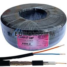Коаксиальный кабель 3C2V+2х0.51 EUROSAT KBH-2 CU черный 100м