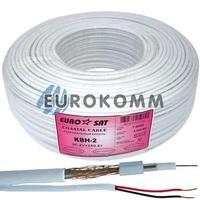 Коаксиальный кабель 3C2V+2х0.51 EUROSAT KBH-2 CU белый 100м