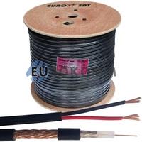 Коаксиальный кабель RG-59+2*0.75 EUROSAT CU наружный, черный 305м