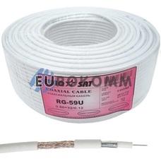 Коаксиальный кабель RG-59 EUROSAT 3C2V-/32CCa CU белый 100м