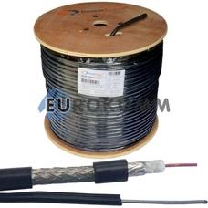 Коаксиальный кабель RG-6 CommSpace F690BVM CCS с тросом, черный 305м