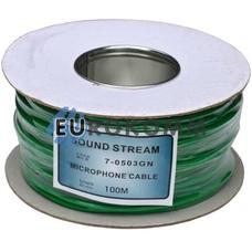 Микрофонный кабель Sound Stream 2x0.17 мм² OFC CU зеленый 100м