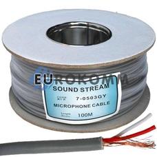 Микрофонный кабель Sound Stream 2x0.17 мм² OFC CU серый 100м