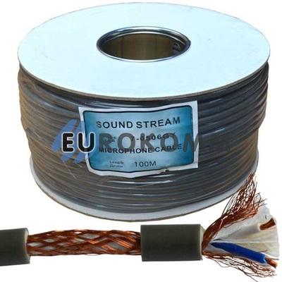 Микрофонный кабель Sound Stream 2x0.28 мм² OFC CU серый 100м