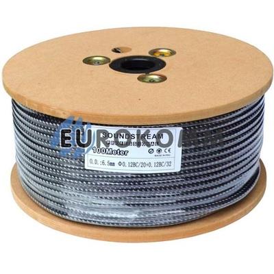 Микрофонный кабель Sound Stream 1x0.22 мм² OFC CU черный в сетке 100м