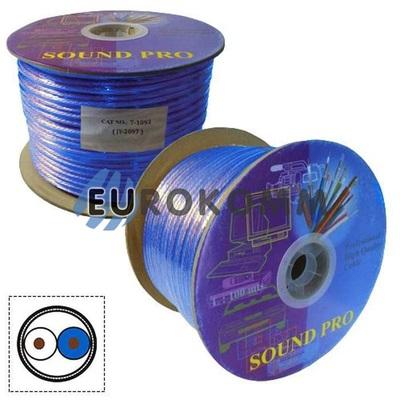 Микрофонный кабель Sound PRO JY-2097 TR 2x0.22 мм² OFC CU прозрачно-синий 100м