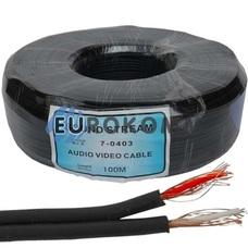 Кабель аудио-видео Sound Star 2x0.09 мм² /20 OFC CU плоский черный 100м
