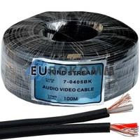 Кабель аудио-видео Sound Stream 2x0.11 мм² /28 OFC CU плоский черный 100м