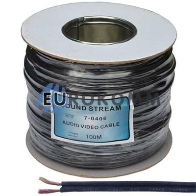 Кабель аудио-видео Sound Stream 2x0.20 мм² /40 OFC CU плоский черный 100м