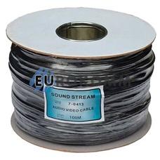 Кабель аудио-видео Sound Stream 2x0.16 мм² /56 OFC CU плоский черный 100м