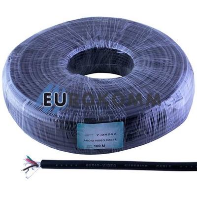 Кабель аудио-видео Sound Star 4x0.11 мм² /7 ССА AL-Foil черный 100м