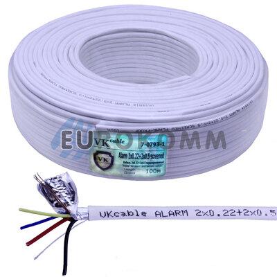 Сигнальный кабель 2х0.22 + 2х0.5 CCA в экране 100м