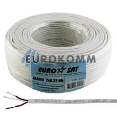 Сигнальный кабель EUROSAT 2x0.22 CU без экрана белый 100м