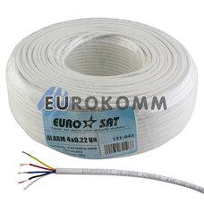 Сигнальный кабель EUROSAT 4x0.22 CU без экрана белый 100м