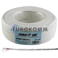 Сигнальный кабель EUROSAT 2x0.22 CU в экране белый 100м
