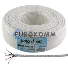 Сигнальный кабель EUROSAT 4x0.22 CU в экране белый 100м