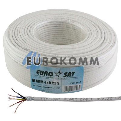 Сигнальный кабель EUROSAT 4x0.22 CU в экране белый
