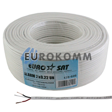 Сигнальный кабель EUROSAT 2x0.22 CCA без экрана белый 100м
