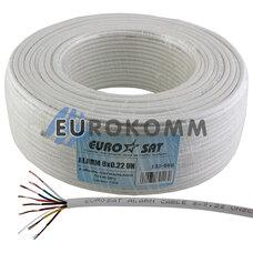 Сигнальный кабель EUROSAT 8x0.22 CCA без экрана белый 100м