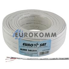 Сигнальный кабель EUROSAT 2х0.22 CCA в экране белый 100м