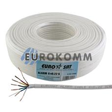 Кабель сигнальный EUROSAT 6х0.22 CCA в экране белый 100м