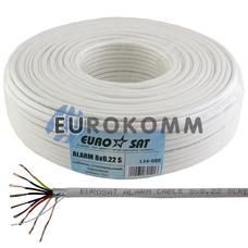 Сигнальный кабель EUROSAT 8х0.22 CCA в экране белый 100м