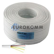 Телефонный кабель 6 жил (7x0,12мм) белый, 100м