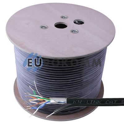 """Интернет кабель """"Витая Пара"""" FTP(PEM) cat.5e CU 4x2x0.50CU KW-Link наружный с тросом 305м"""