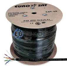 """Интернет кабель """"Витая Пара"""" FTP(PE) cat.5e 4x2x0.51 CU EUROSAT наружный 305м"""