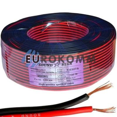Низковольтный кабель питания Sound Star 2x0.32мм²  CCA красно-черный 100м