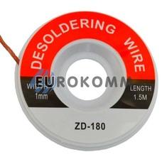 Лента для удаления припоя ZD-180, 1,0мм, катушка 1,5м