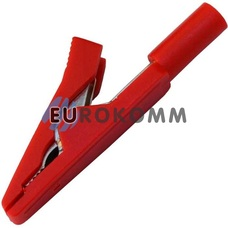 Зажим под щуп тестерный пластиковый (40 мм) красный