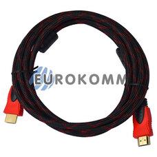 Кабель (шнур) HDMI - HDMI (v1.4 с фильтрами в оплетке, 5м)