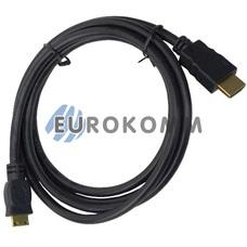 Кабель (шнур) переходник HDMI - mini HDMI (v1.4, gold, черный, 1.5м)